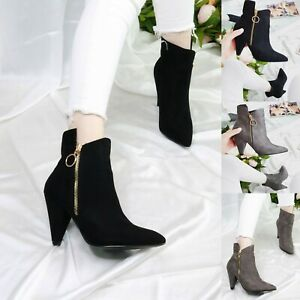 Womens Ladies Black High Block Heel Ankle Boots Smart Office Zip Up Shoes Size