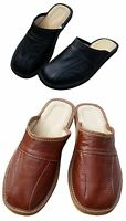 Mens Leather Slippers Shoes, Sandals, Slip On Mules, Black Brown Size 6-11 UK