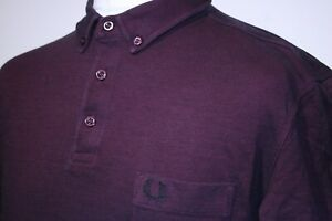 Fred Perry Oxford Pique Polo Shirt - XL/XXL - Aubergine - Mod 80s Casuals Top