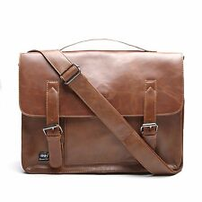 Leather Business Briefcase Brown Shoulder Bag Laptop Messenger Tote Vintage Men