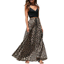 Womens Leopard Print Long Drawstring Pleated High Waisted Bohemian Maxi Skirt