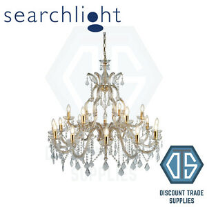 1214-18 SEARCHLIGHT MARIE THERESE BRASS 18 LIGHT CHANDELIER WITH CRYSTAL DROPS