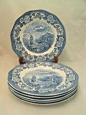 "Vintage Royal Warwick LOCHS Oich of SCOTLAND Blue Set of 6-10"" Dinner Plates EUC"
