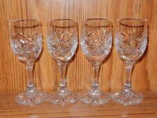 Set of 4 Bavarian Crystal Liqueur Cordial Goblets Glasses Palm Leaf  Pattern