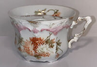 Antique Bone China Mustache Cup Weimar Germany Floral on White - Free Shipping