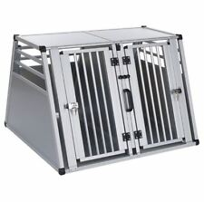 Dog Transport Box Double Metal Lightweight Spacious Aluminium Crate w Partition