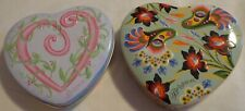 Brighton Metal Tin Heart Shaped Box Container x2 Floral Empty Valentine'S Day