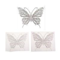 2pcs Iron-On Butterfly Rhinestone Crystal Transfer Hotfix Motif DIY Applique