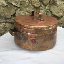 Antique French Copper Pot Lidded 1800s French Cooking Hand Made Coppersmith