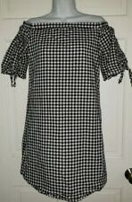 ANA black White Gingham check lined Cotton Off Shoulder Mini Dress S