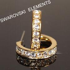 18 CT con Baño De Oro Amarillo 20mm con Cristal Swarovski Hombre Pendientes