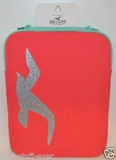 HOLLISTER TABLET IPAD KINDLE CASE BAG PINK CORAL SILVER SPARKLY SLEEVE PADDED