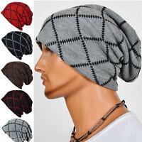 Men Woolly Oversized Cap Crochet Knitted Braided Beanie Slouch Hat Skateboard