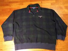 POLO SPORT XL Embroidered Flag Logo Plaid Fleece Pullover Jacket VTG
