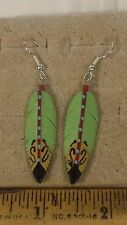 Hand Carved  and painted native american feather shaped earrings