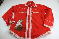 RARE VTG Levis 1980 Olympic WILD Western Shirt Large L 16.5 x 34/34
