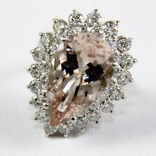 Huge Pear Cut Pink Morganite & Diamond Solitaire Ring 14k White Gold 10.53Ct