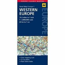 1. Western Europe: AA Road Map Europe - Sheet map, folded