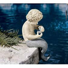 "The Ocean's Little Treasures Two Tone Merman Design Toscano 15½"" Statue"