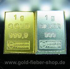 1 GRAM GOLD + 1 GRAM SILVER bullion .9999 24k Fine, Ingot, Bar, Nugget LBMA, 1 g