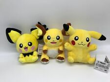 3X Pokemon Plush Pichu Pikachu Raichu Soft Toy Stuffed Animal Teddy Doll 8""