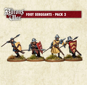 FOOT SERGEANTS with SPEARS pack of 4 figures Barons War BW36