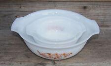 HTF 3 Nesting Glasbake Jewel Tea Autumn Leaf Mixing Bowls Milk Glass