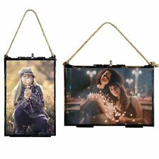 Hanging Glass Photo Frame With Rope Bundle 4x6 Frames x2 & 6x4 Frames x2. Set x4