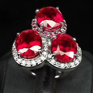Ruby Tourmaline oval 3 Stone 26.70 Ct. 925 Sterling Silver Ring Size 6 Jewelry
