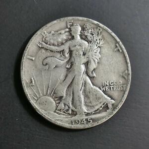 1945 S 50c Walking Liberty Half Dollar 90% Silver Unprofessionally Graded Fine