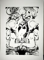 Silkscreen poster, gothic art poster 13 x19 psychedelic, gothic,signed numbered