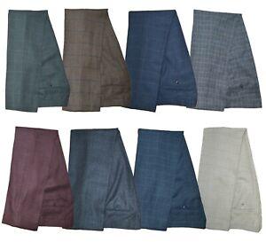 Mens Cavani Peaky Blinders Tweed Check Suit Trousers Vintage Slim Fit