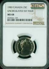 1983 CANADA 25 CENTS NGC MAC MS68 PQ FINEST GRADED MAC SPOTLESS  *