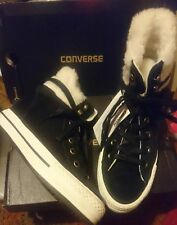 BLACK WHITE CONVERSE SIZE 4 4.5 37 CONCEALED WEDGE PLATFORM LEATHER SUEDE BOOTS
