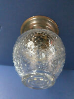Vtg Flush Mount Ceiling Light Fixture Glass Globe Circles Diamonds MCM Art Deco