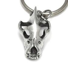 Hyena Skull Key Chain Handmade Animal Metal Skeleton Accessorie in Pewter Bone
