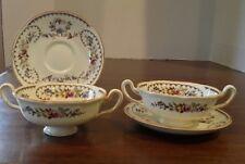 Royal Doulton The Beaufort Set of 2 Cream Soup Bowls Cups 2 Handle Saucers