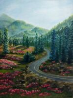 "Art16""/12"" oil painting, mountain road, landscape, nature, mountain view"