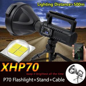 Powerful 380000LM XHP70 LED Flashlight Work Light Spotlight Searchlight 4 Modes