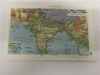 Map 1974: India Pakistan Sri Lanka Burma & China 46 Years Old Original Print