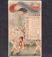 Donaldson Bros Lithographer NY 1878 Artistic Printer Calendar Trade Card Cherubs