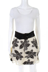 Alice + Olivia Womens Floral Embroidered A Line Belted Skirt Beige Brown Size 4