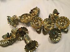Vtg 10 Christmas Tree Candle Holder Clip On Gold Tone Metal PineCone Clip Swival