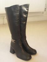 Leather ladies women's black boots shoes,  size 3.5