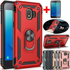 For Samsung Galaxy J2 Core Shockproof Armor Ring Stand Case Cover+Tempered Glass
