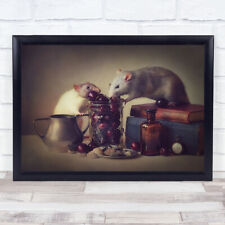 Snoozy Jimmy Mouse Pet Rodent Book Bottle Glass Jar Wall Art Print
