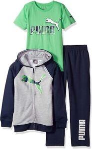 PUMA Boys' 3 Piece Set Hoodie/ Pants and T-Shirt  ( 4-7 Years)