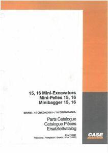 Case Crawler Excavator Mini-Excavator 15 & 16 Parts Manual