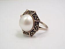 Vintage Sterling Silver & Marcasite Design Frame & Large Pearl Ring, size 7.75