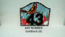 Goldfinch House Number Plate Door Sign Plaque Any Number Coloured Glass Mosaic